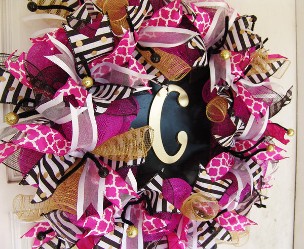 Monogram Front Door Deco Mesh Wreath, Initial Personalized Gift, Home Decoration