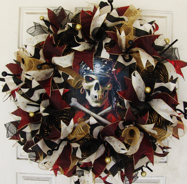 Burgundy Pirate Skull Crossbones Skeleton Deco Mesh Front Door Wreath, Halloween