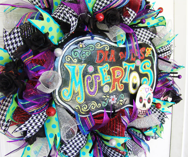 Day of the Dead Dia de los Muertos Front Door Halloween Wreath