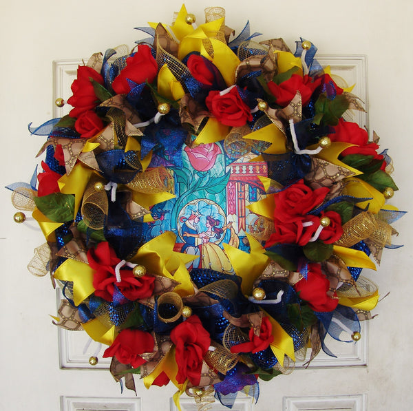 Beauty and the Beast Deco Mesh Front Door Wreath