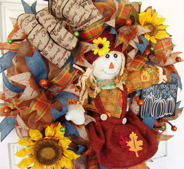 Scarecrow Girl Sunflower Thanksgiving Fall Autumn Deco Mesh Door Wreath
