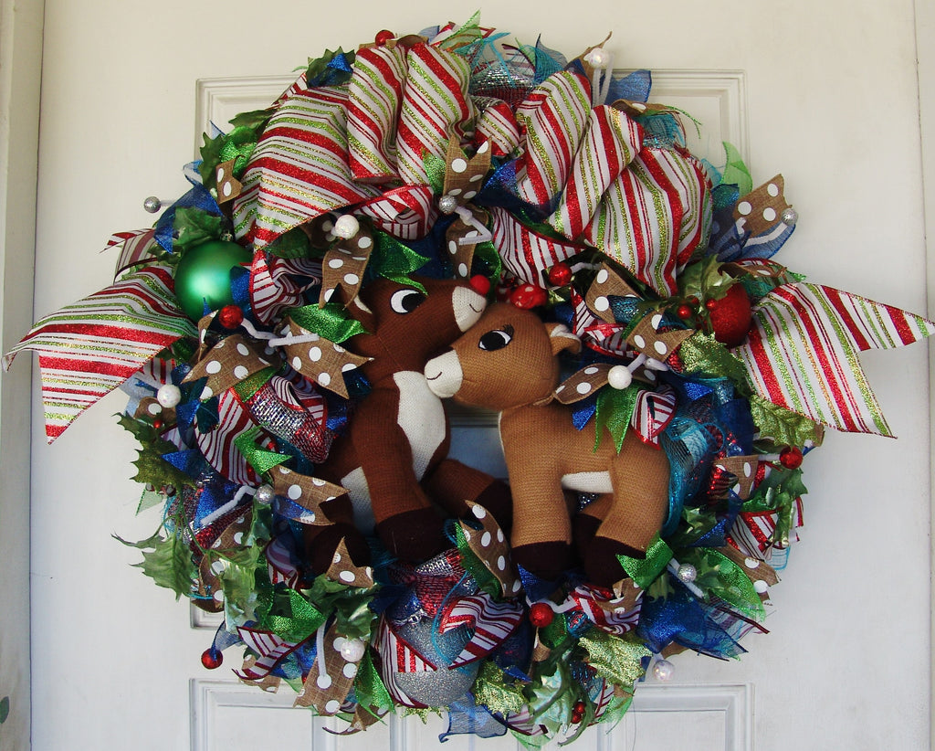 XL Deluxe Rudolph the Red Nosed Reindeer & Clarice Christmas Door Wreath