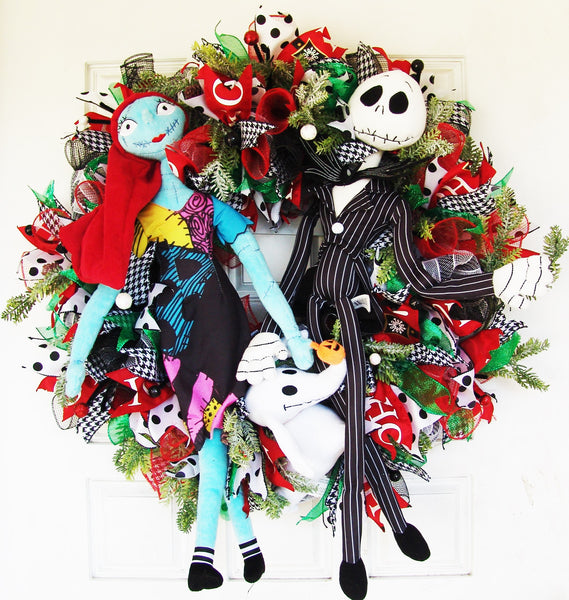 Christmas Jack Skellington, Sally, Zero Deco Mesh Front Door Wreath
