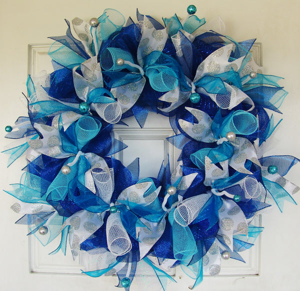Dark Royal Blue Teal Silver Hanukkah or Christmas Deco Mesh Door Wreath