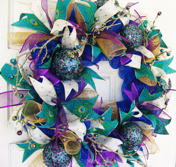 Christmas Jewel Tone Peacock Deco Mesh Front Door Wreath