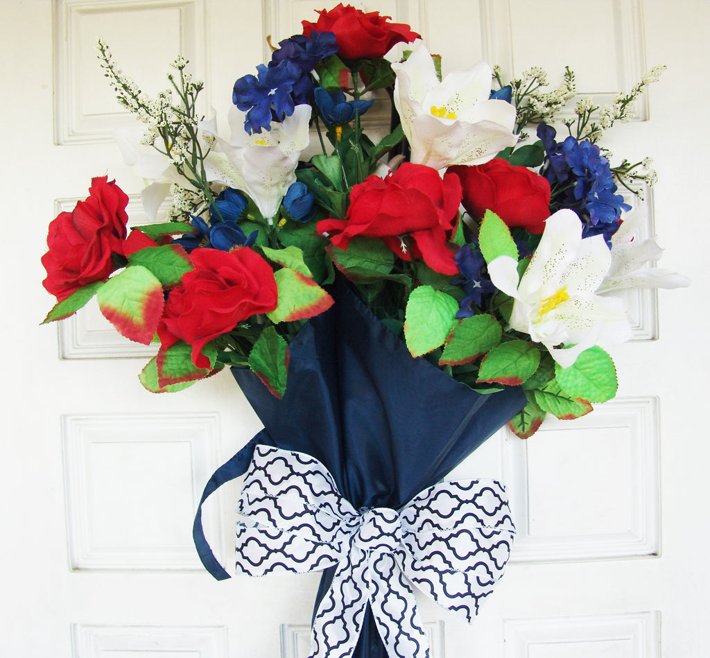 Red white blue floral bouquet navy blue umbrella front door wreath red white blue floral bouquet navy blue umbrella front door wreath spring 4th of izmirmasajfo Gallery