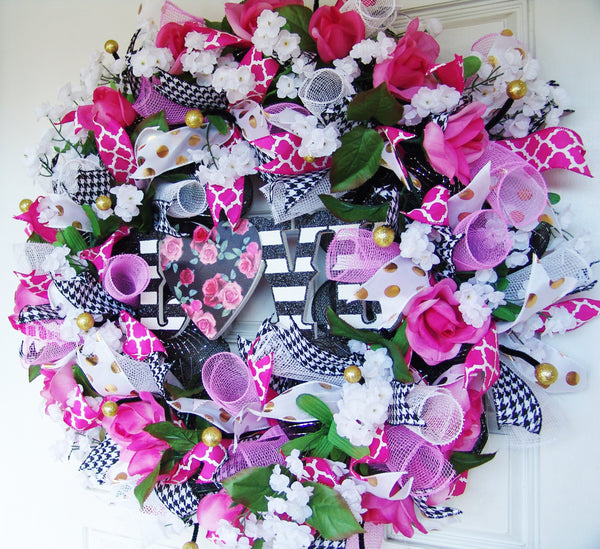 Beautiful Pink LOVE Valentines Day Floral Deco Mesh Front Door Wreath, Spring