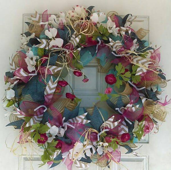 Dogwood Floral Spring Summer Wreath for Front Door
