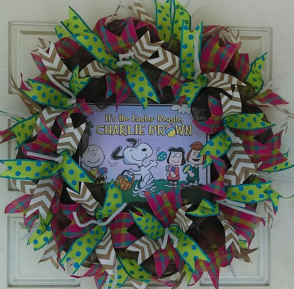 Charlie Brown Easter Beagle Deco Mesh Door Wreath 25""