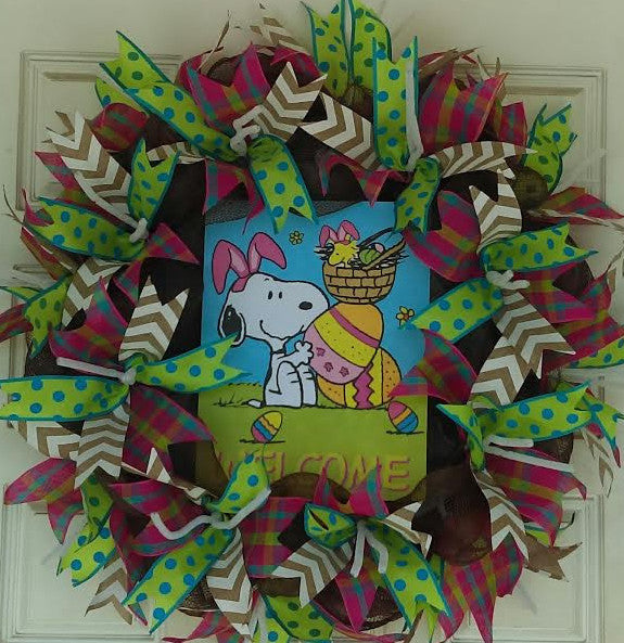 Charlie Brown Easter Snoopy Deco Mesh Door Wreath 25""