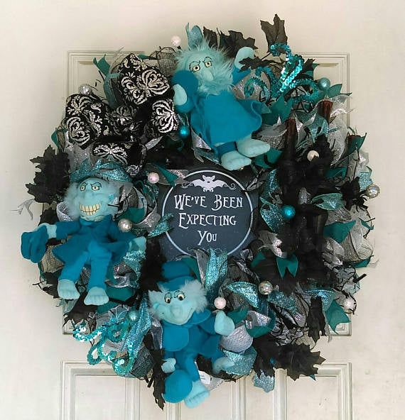 Haunted Mansion Ride Hitchhiking Ghosts Halloween Deco Mesh Wreath