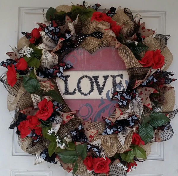Beautiful Valentines Day Red Roses Heart Deco Mesh Wreath