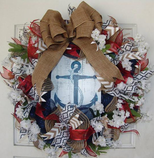 Nautical Anchor Themed 4th of July Deco Mesh Door Wreath