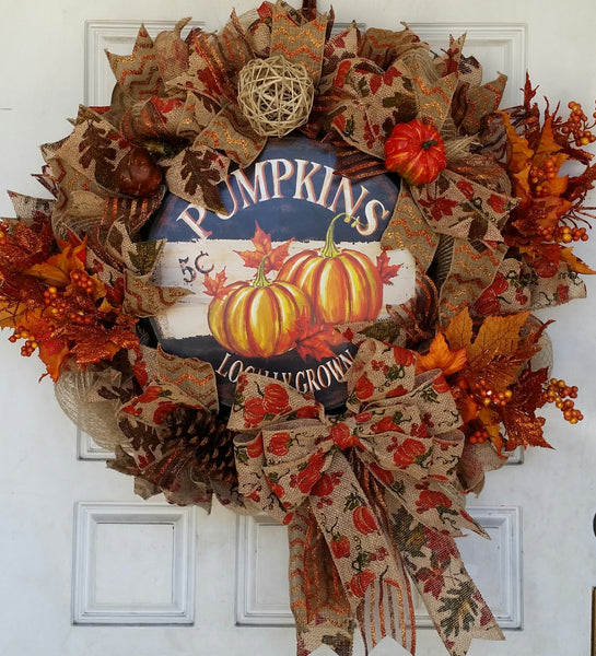 Locally Grown Pumpkins Thanksgiving Fall Autumn Deco Mesh Door Wreath