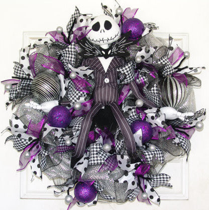 Purple Jack Skellington Christmas Door Wreath Nightmare Before Christmas fandom