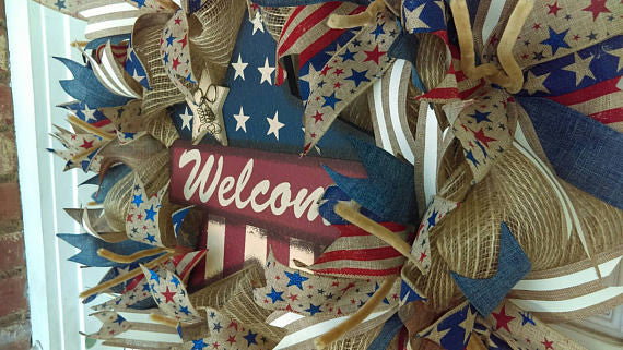 Rustic Burlap Star 4th of July Deco Mesh Door Wreath