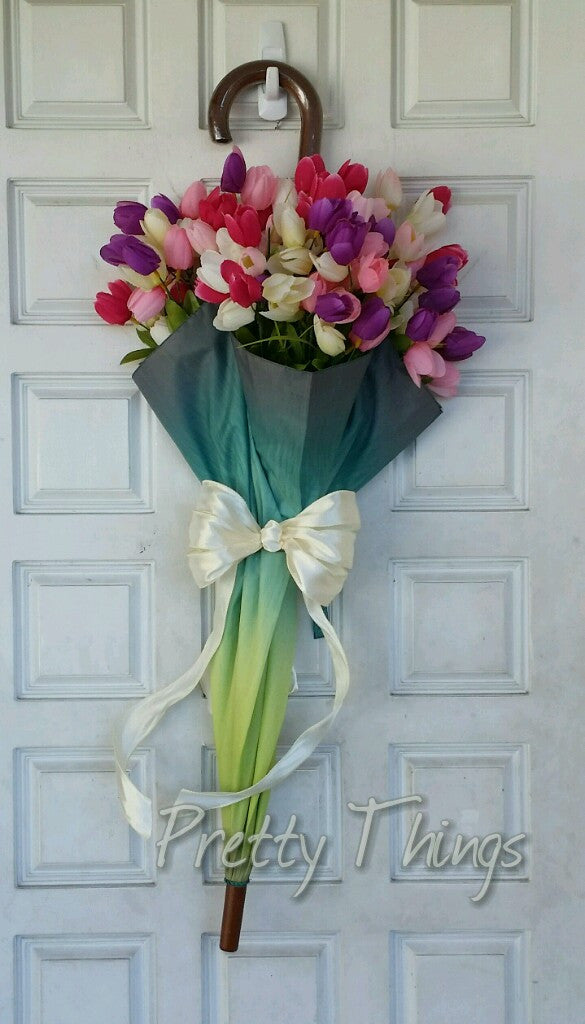 Spring Tulip Umbrella Door Wreath STUNNING Valentines Day Wreath