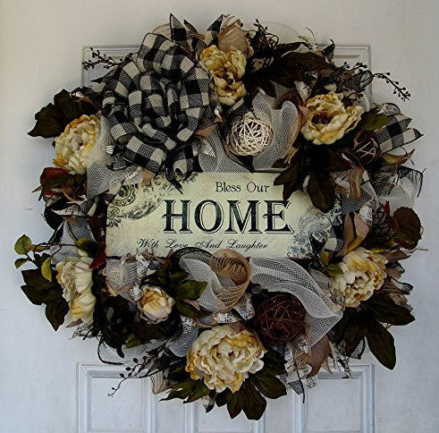 French Country Elegant Peony Floral Everyday Deco Mesh Door Wreath Spring