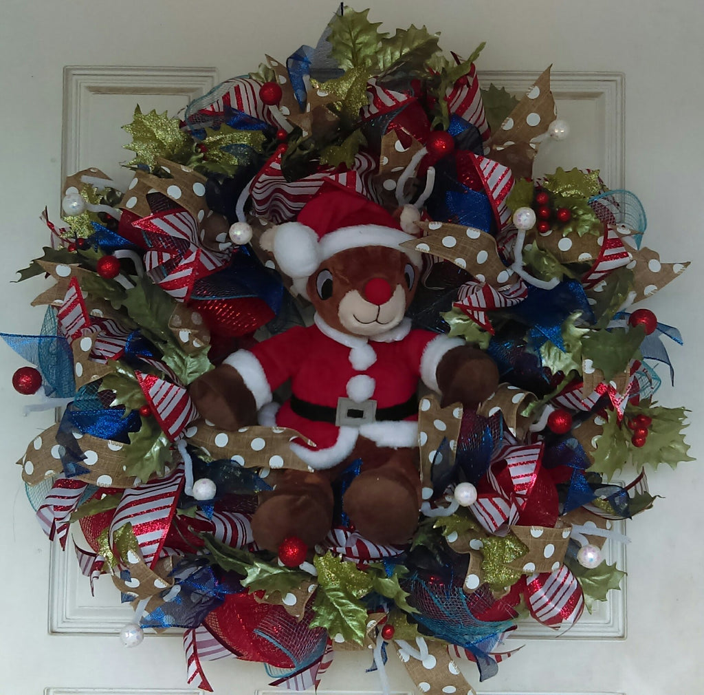 Rudolph the Red Nosed Reindeer Christmas Door Wreath