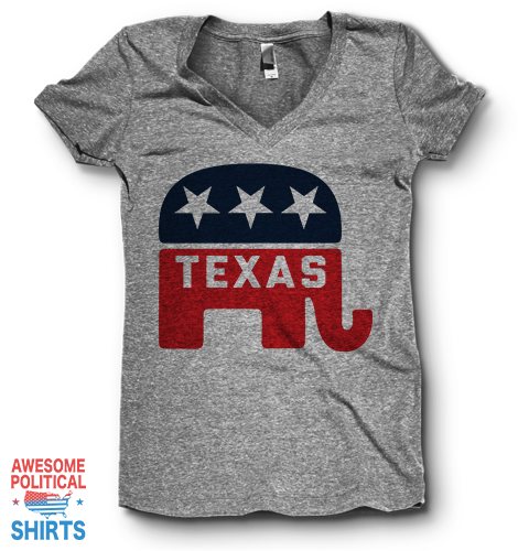 Texas | V Neck on a Shirts at Awesome Political Shirts Dot Com