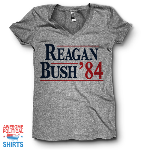 Reagan Bush '84 | V Neck on a Shirts at Awesome Political Shirts Dot Com