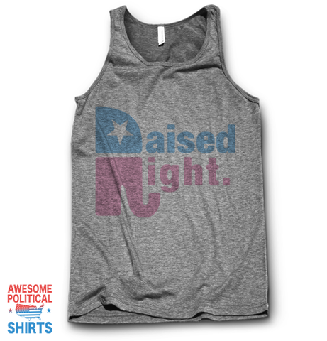 Raised Right - Pink on a Tanks at Awesome Political Shirts Dot Com