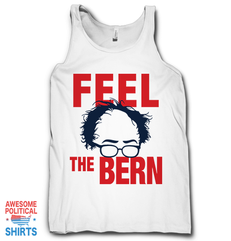 Feel The Bern on a Tanks at Awesome Political Shirts Dot Com