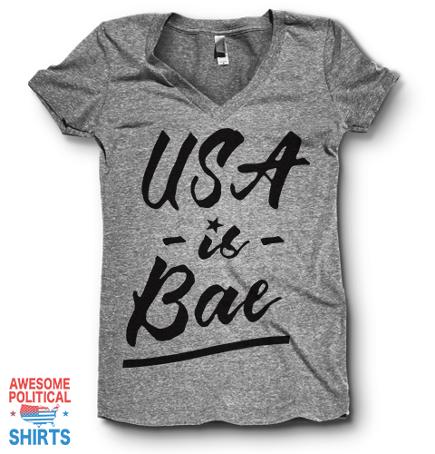 USA Is Bae, Black | V Neck on a Shirts at Awesome Political Shirts Dot Com
