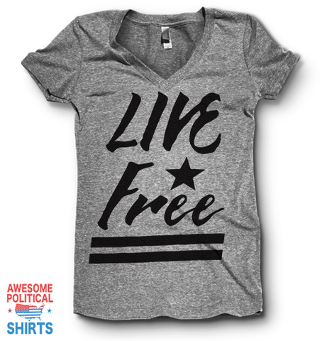 Live Free | V Neck on a Shirts at Awesome Political Shirts Dot Com
