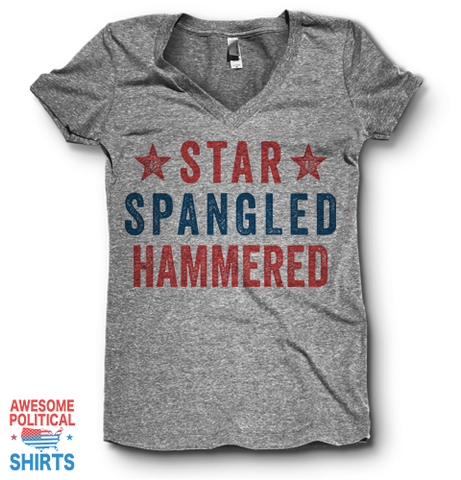 Star Spangled Hammered | V Neck on a Shirts at Awesome Political Shirts Dot Com