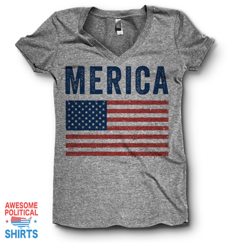 Merica | V Neck on a Shirts at Awesome Political Shirts Dot Com