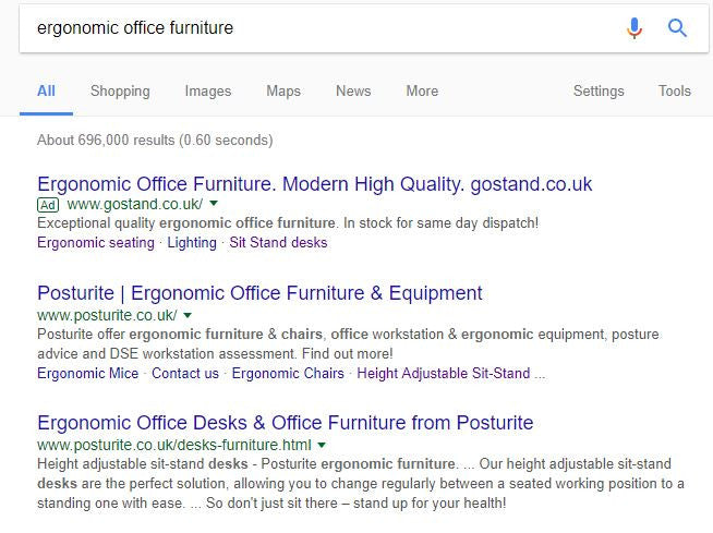Check our Google ad for ergonomic furniture