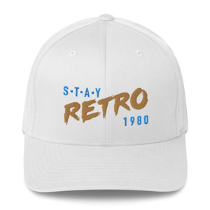 Stay Retro Baseball Cap (White/Gold Flexfit)