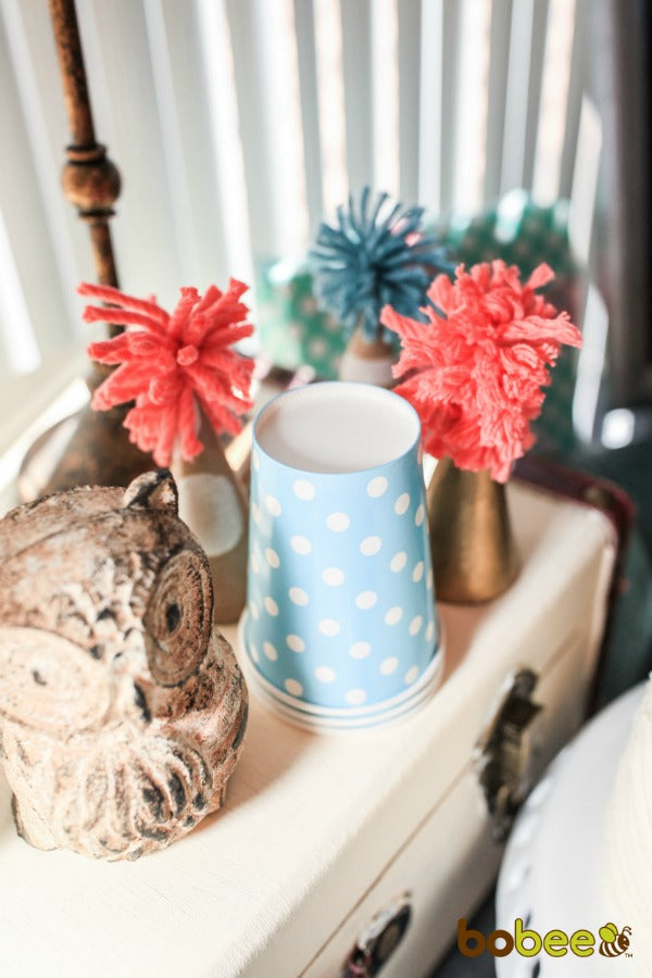 paper cups blue with white polka dots