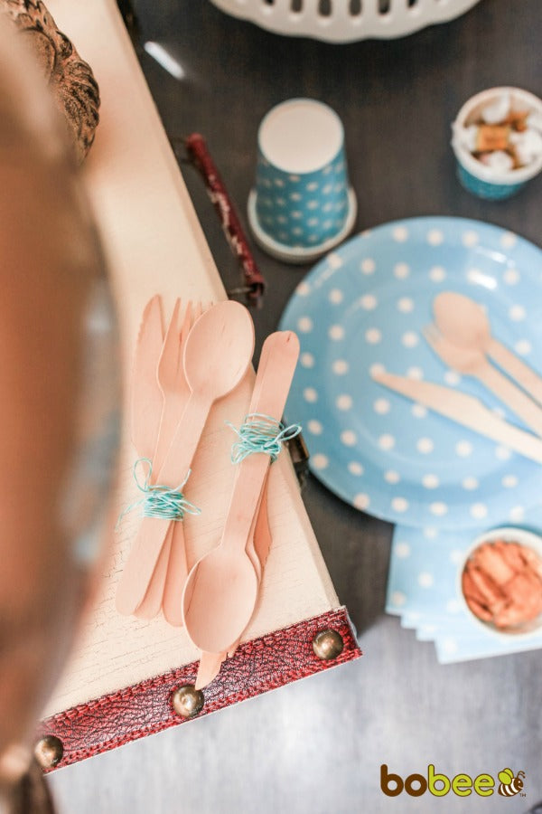 blue with white polka dot paper ware