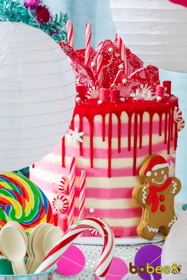 red iced candyland cake