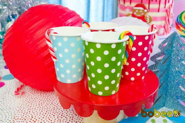 red green blue paper cups
