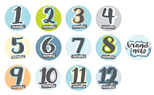 Baby Boy Milestone Stickers Memory Props, 13 Stickers Months one - Twelve and Brand New Sticker