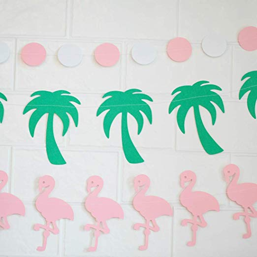 pink flamingo green palm tree