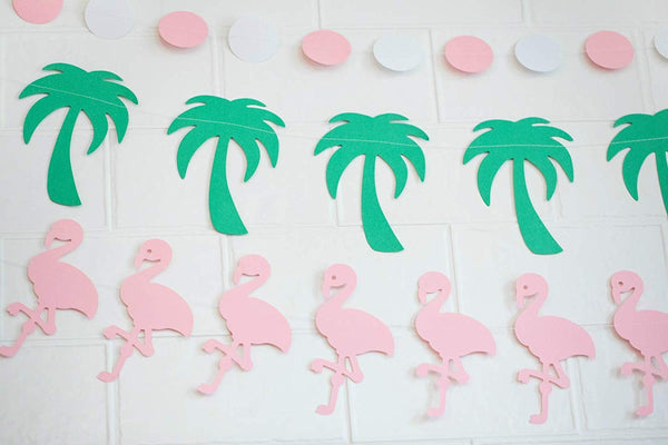 paper garlands pink white dots palm trees pink flamingos