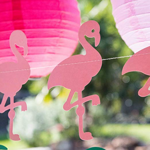 "Pink Flamingo Party Decorations, 7-Foot Paper Garland, 6"" Flamingos"