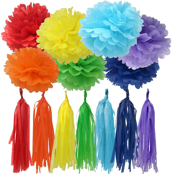 rainbow party decorations pom pom and tassel set