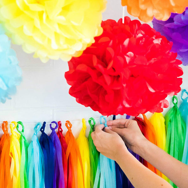rainbow party tassel decorations