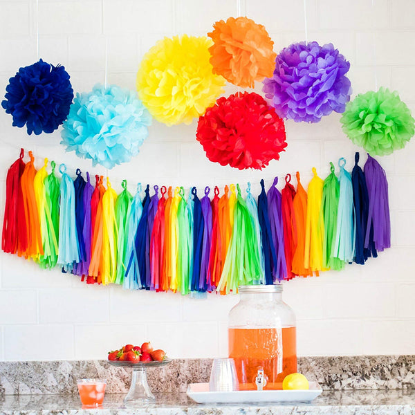 rainbow party decorations table setup