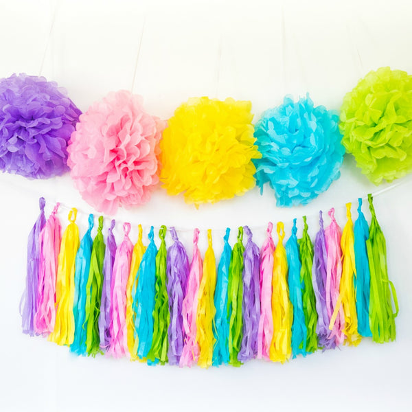 pastel pom poms and tassels