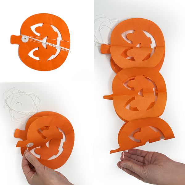 demonstration of how to assemble pumpkin banners