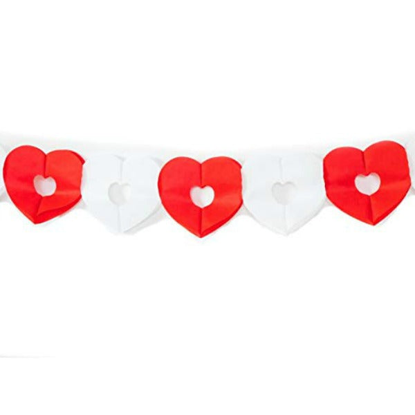 red and white heart banner