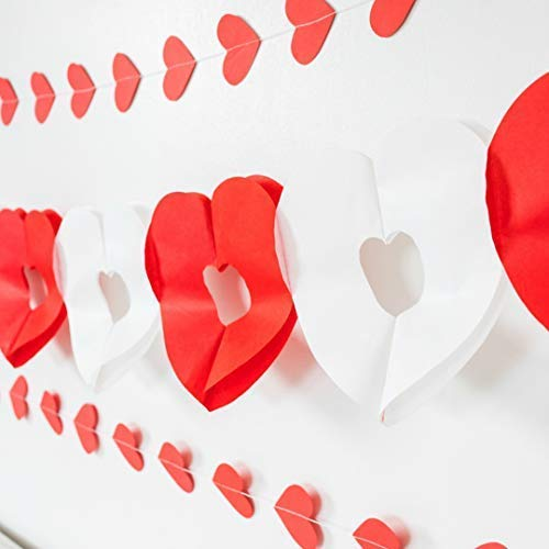 red heart garland and banner