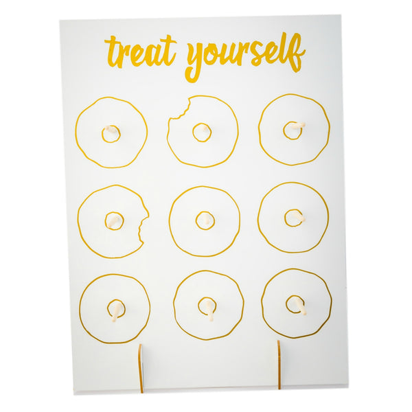Treat Yourself Donut Wall Reusable Display for Wedding Birthday Baby Shower, holds 9 donuts