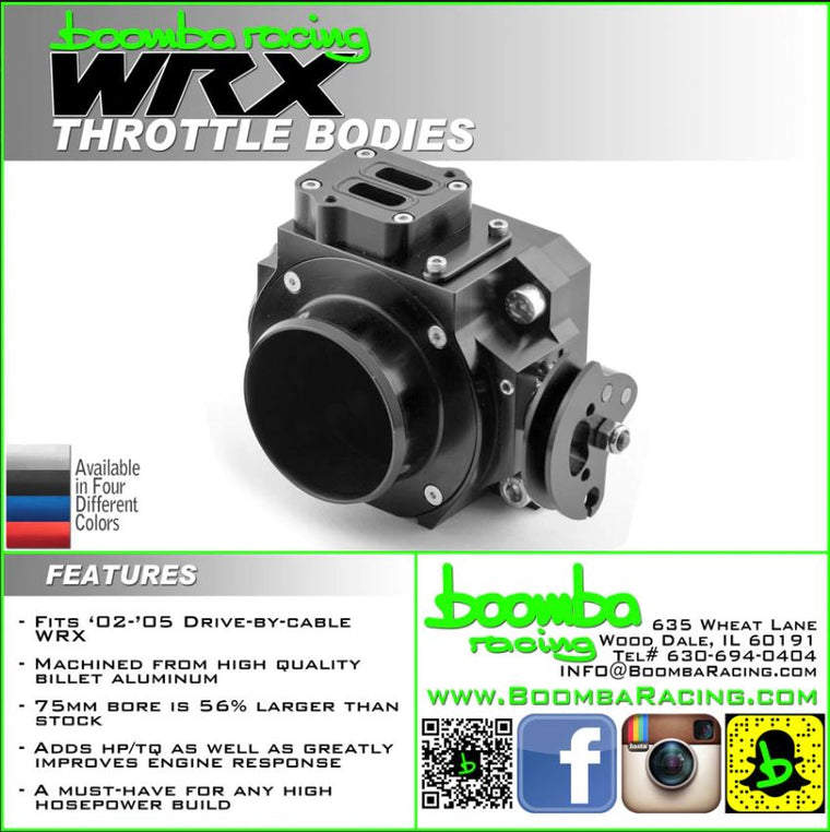 Boomba Racing 2002-05 WRX/STI 75mm Throttle Body Drive By Cable